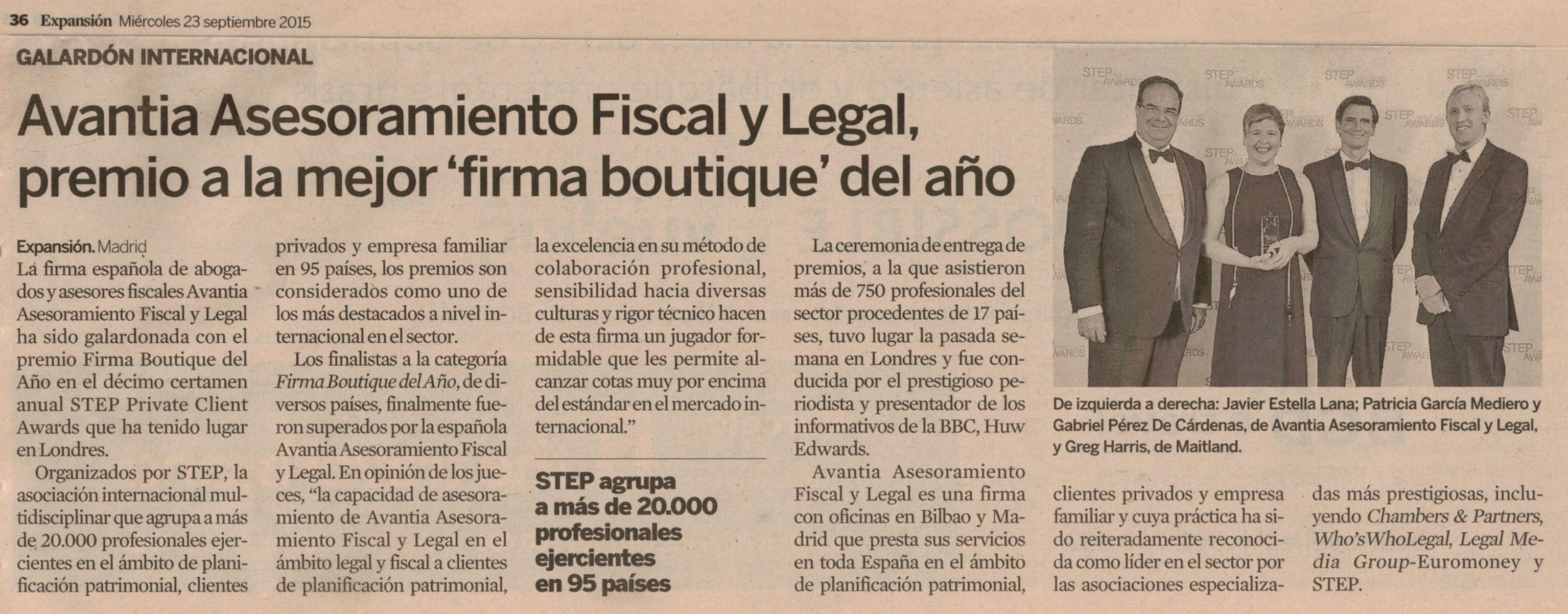 Prensa- Avantia Asesoramiento Fiscal y Legal, premio a la mejor 'firma boutique' del año [Expansión]