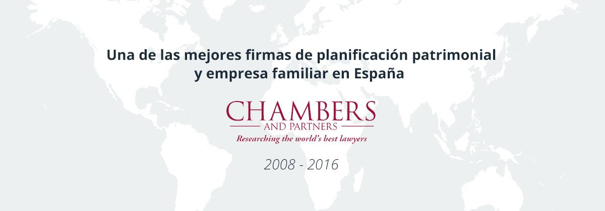 Una de las mejores firmas de planificación patrimonial y empresa familiar en España según Chambers and Partners